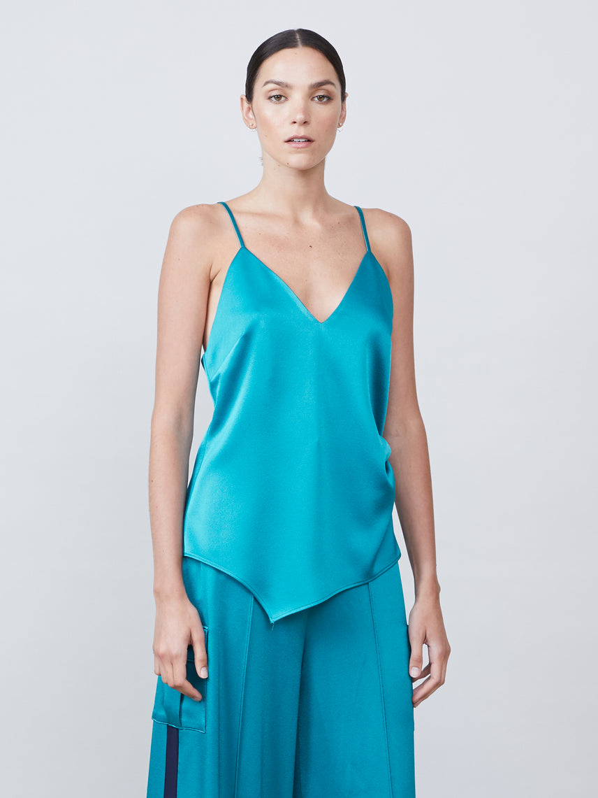 Matte satin asymmetrical cami with ruching detail