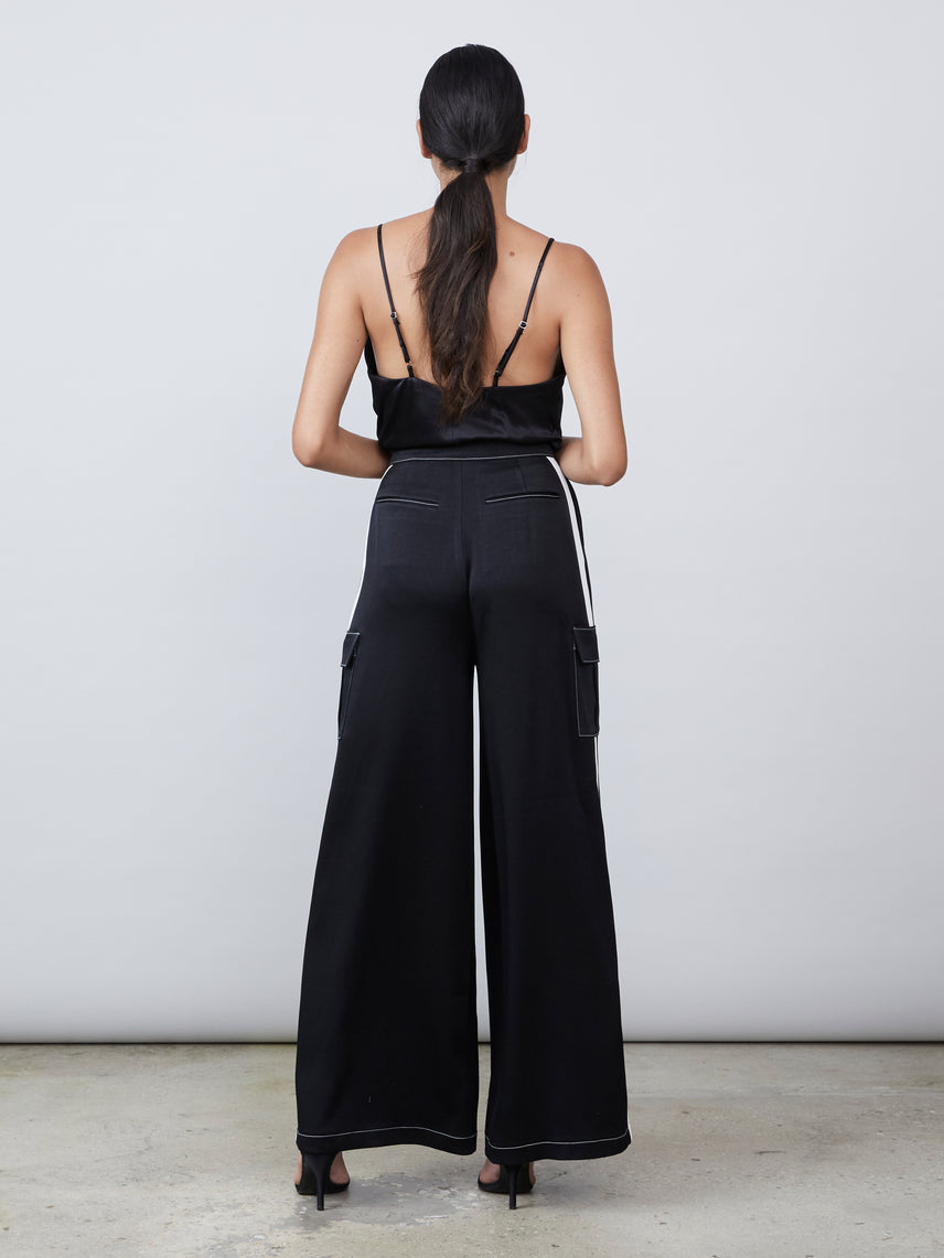 Satin wide leg cargo pant with top stitching