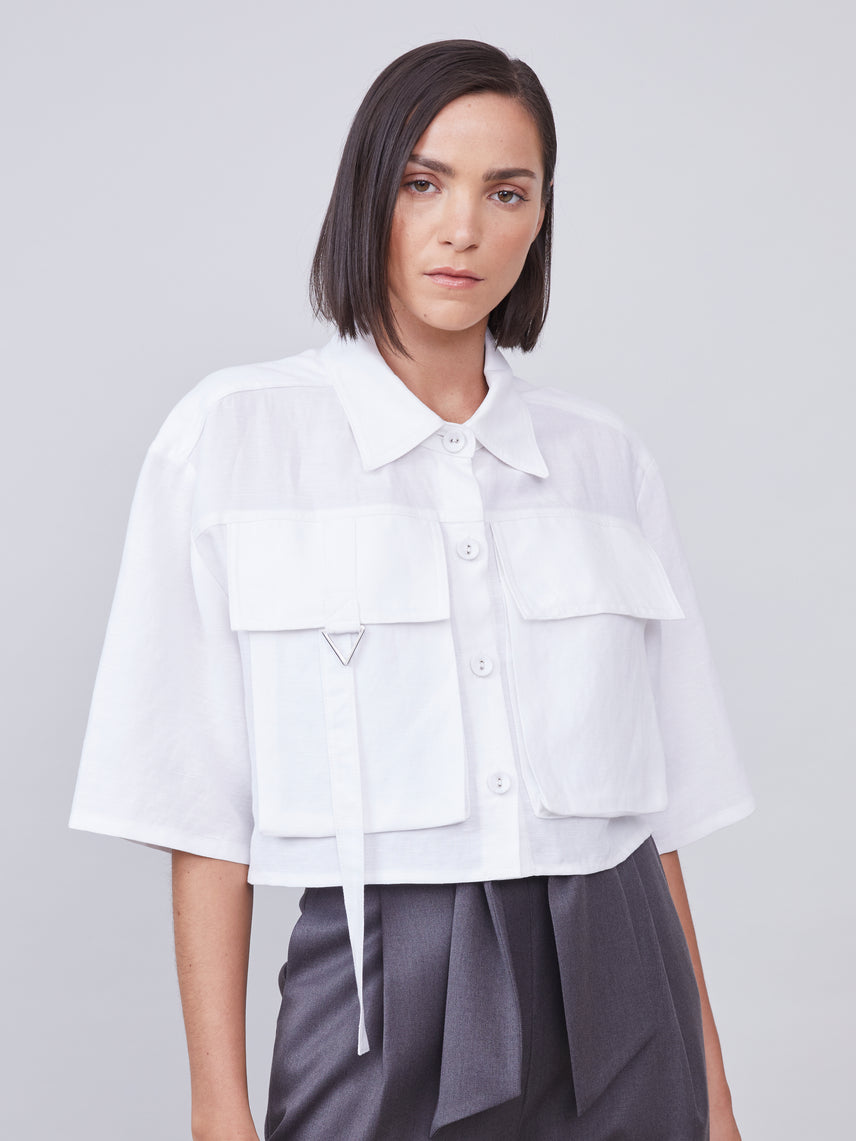 Oversized boxy button down crop top