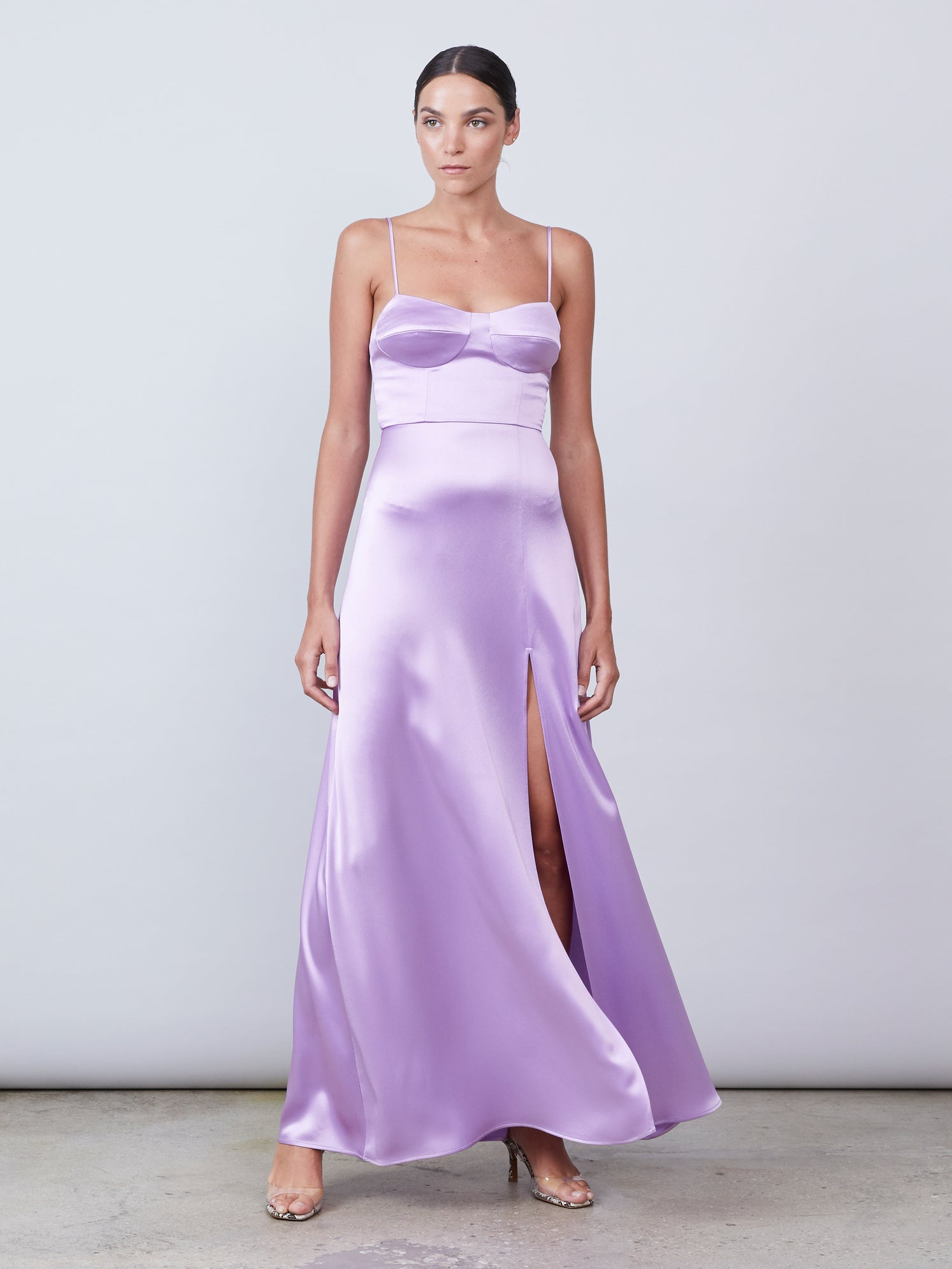 Satin bustier gown with knee-high front slit