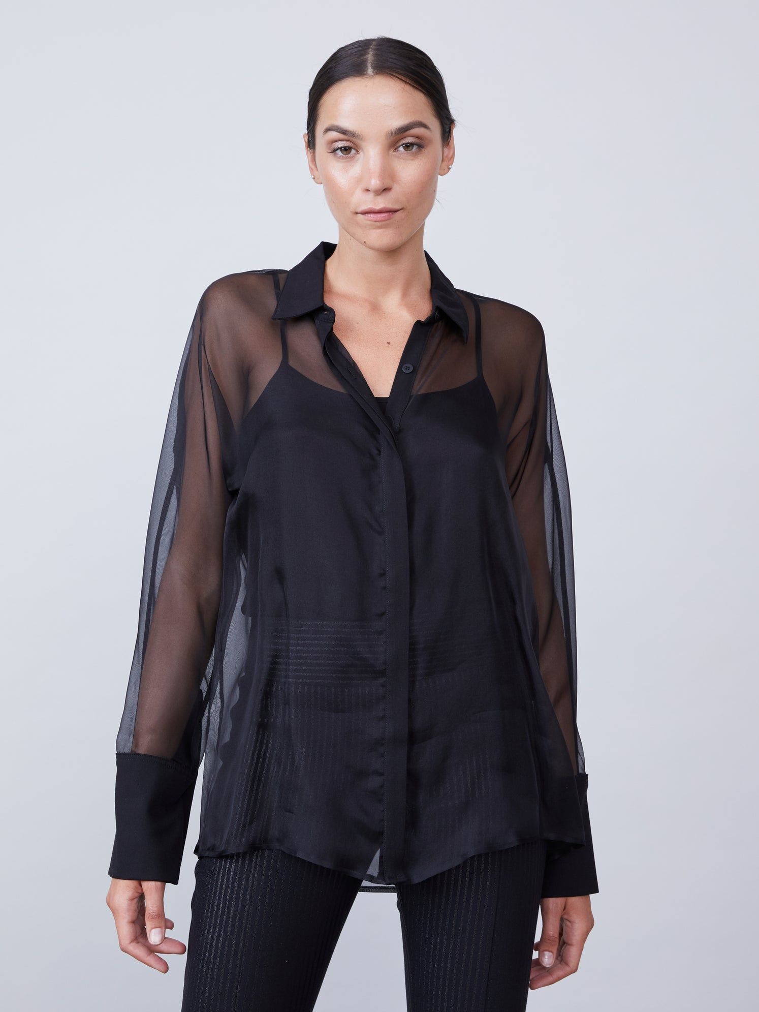 Silk organza oversized button down shirt