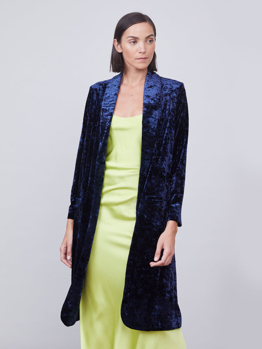 Crushed velvet duster jacket in midnight