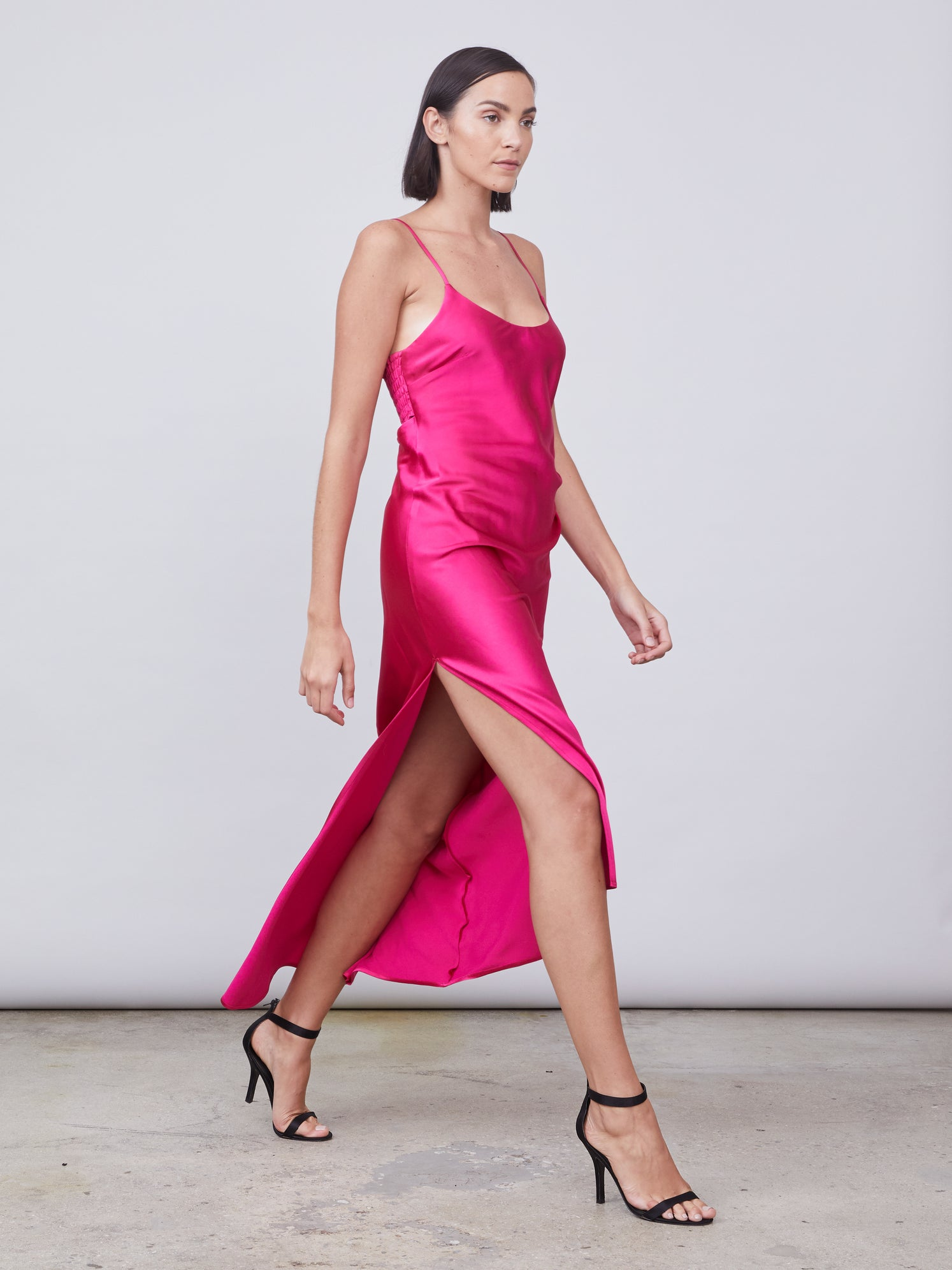 Asymmetrical slip dress with front leg slit and smocked back Alternate