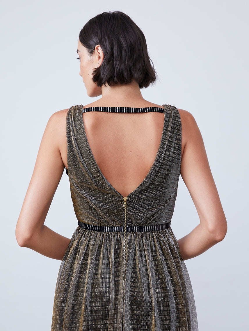 Crinkle metallic mesh deep-v maxi dress