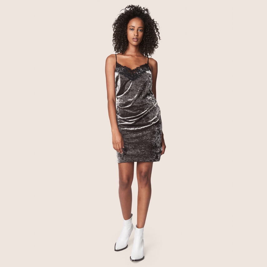Ash gray crushed velvet slip dress with spaghetti straps and lingerie lace neck detail