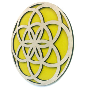 Flower Mandala in Yellow with Natural Birch wood finish