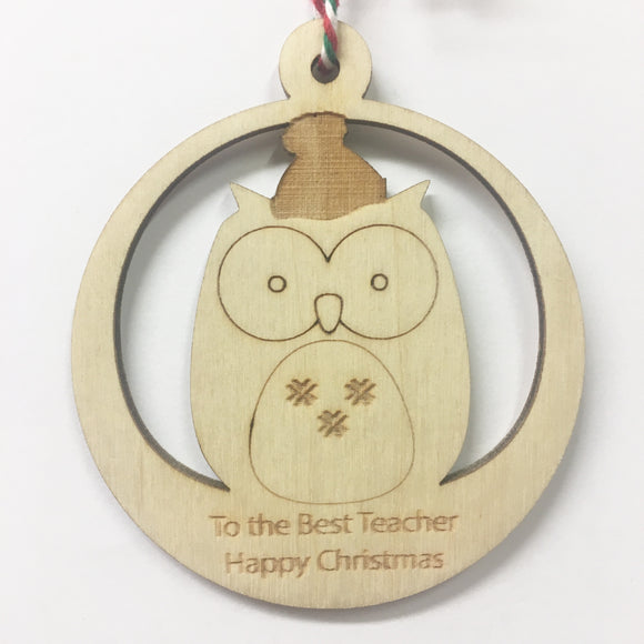 Teacher - Personalised Owl Decoration