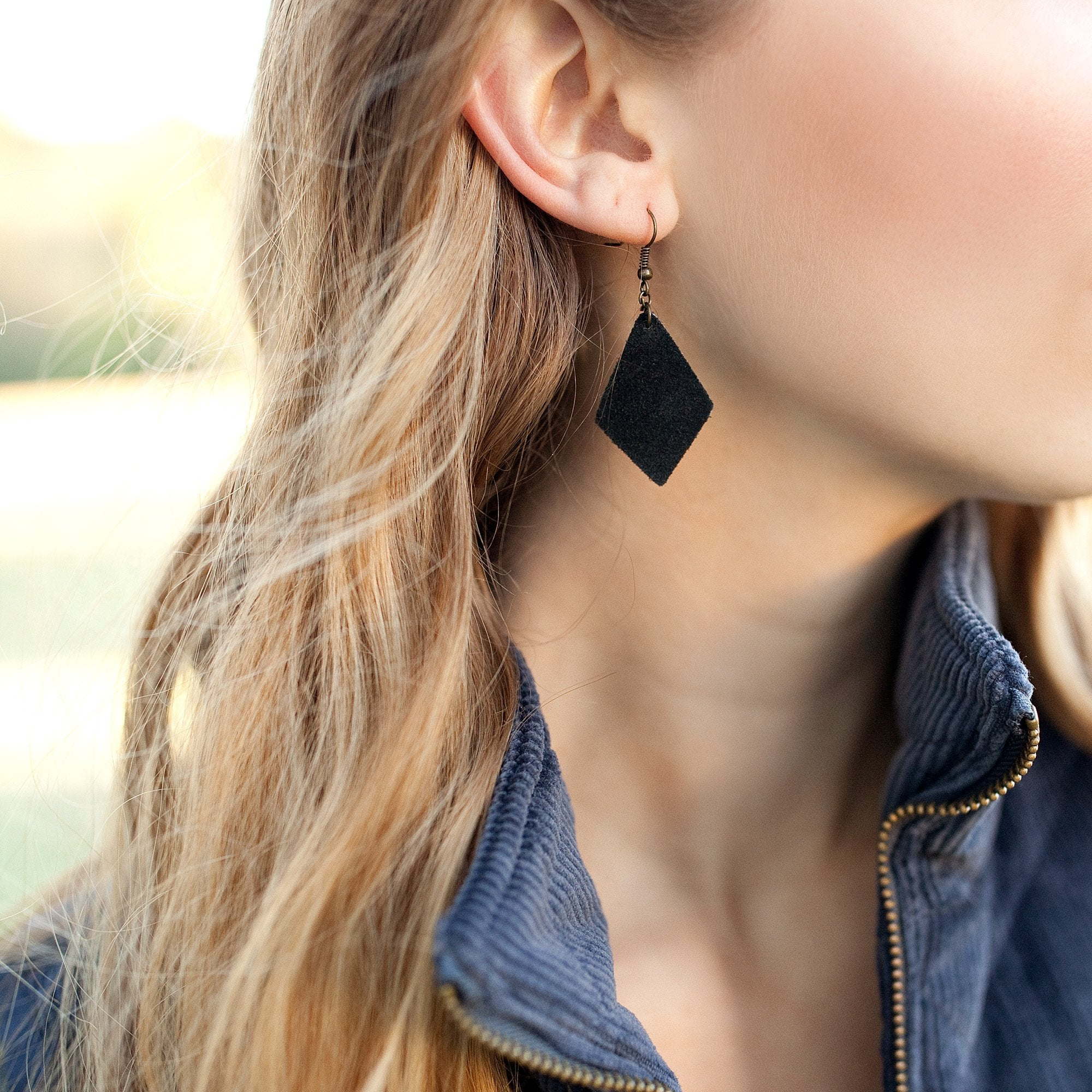 Suede Geo Earrings in Black - Newport Edge