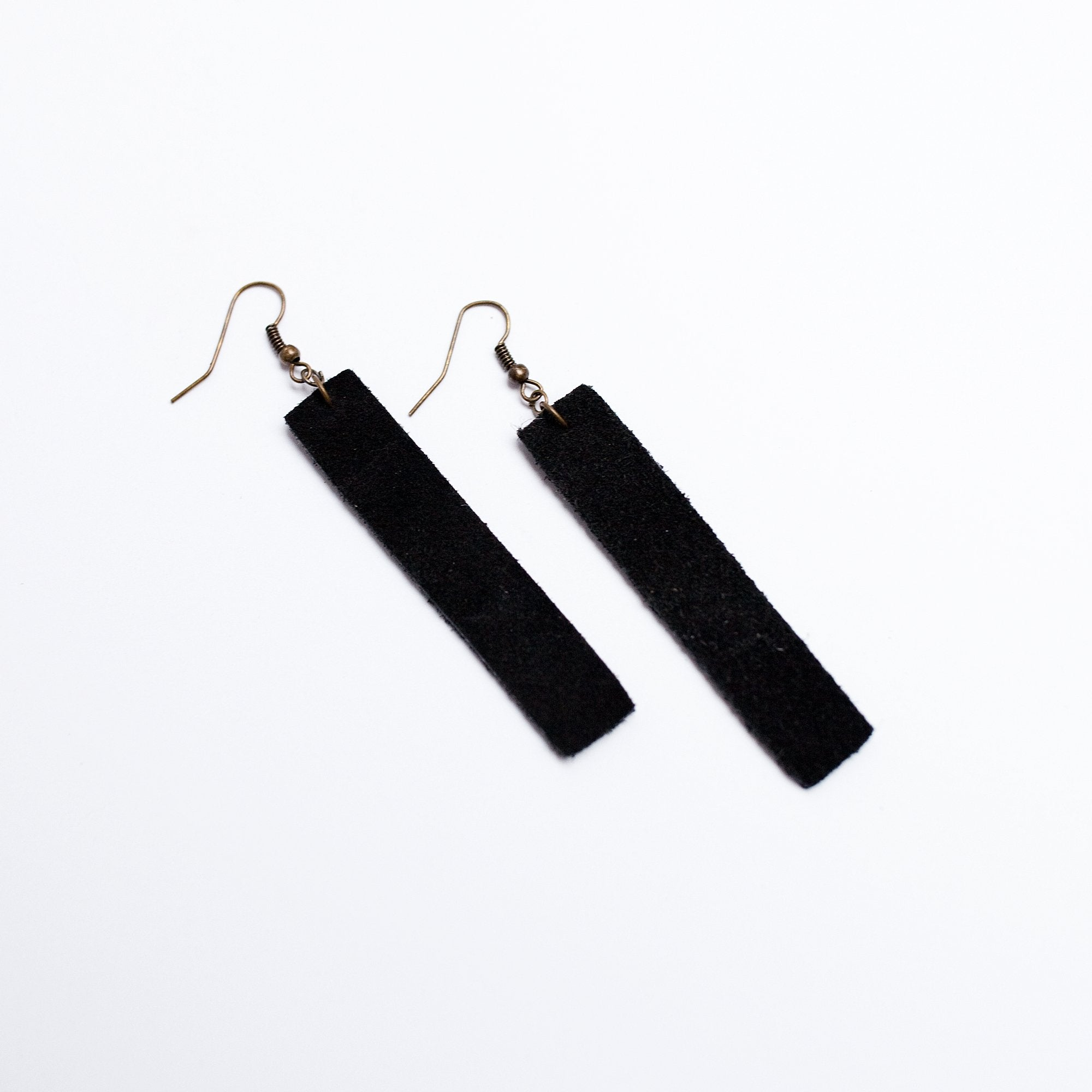 Suede Bar Earrings in Black - Newport Edge
