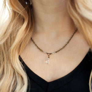 Dainty Triangle Beaded Pendant Necklace - Newport Edge