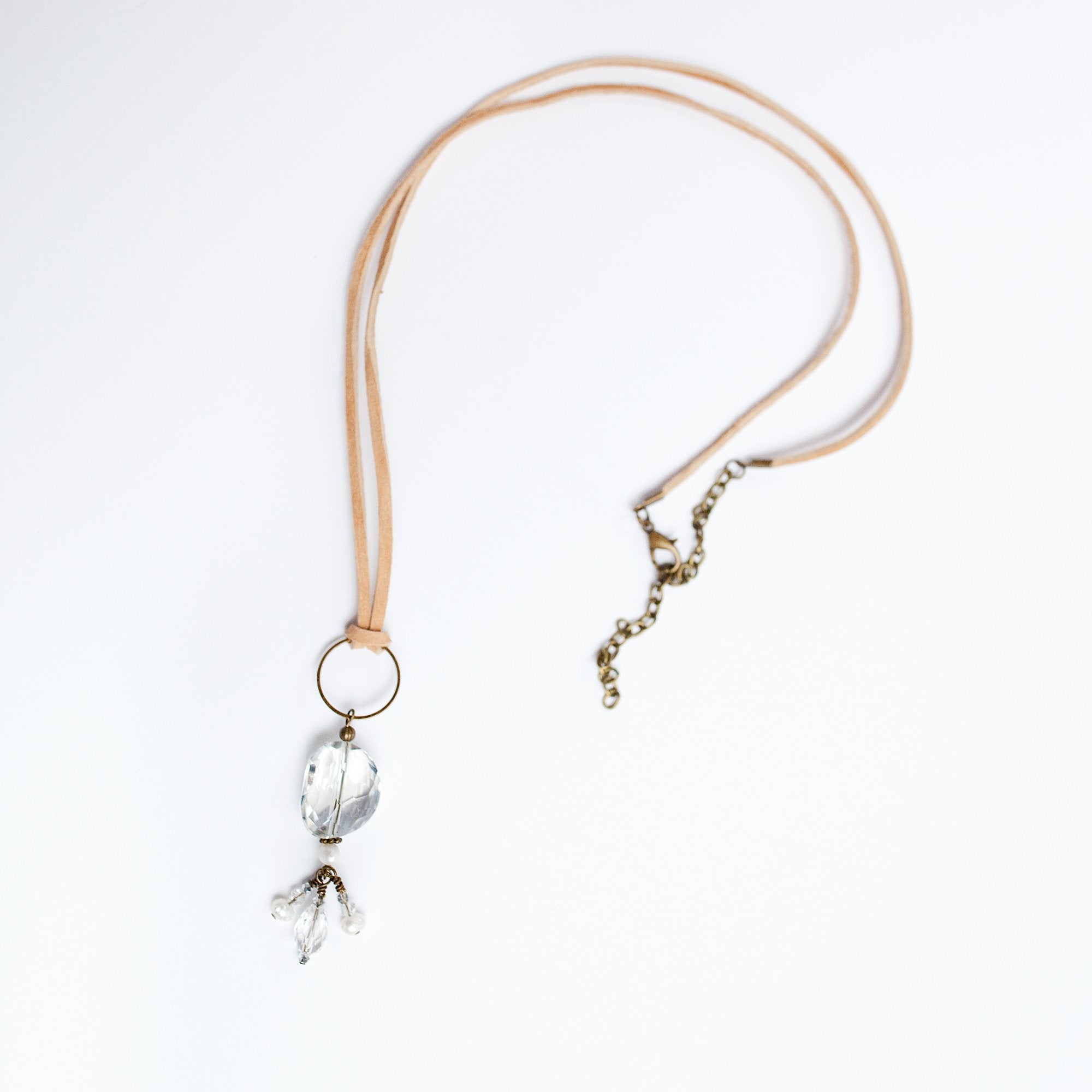 Knotted Sand Suede Necklace with Glass Pendant - Newport Edge