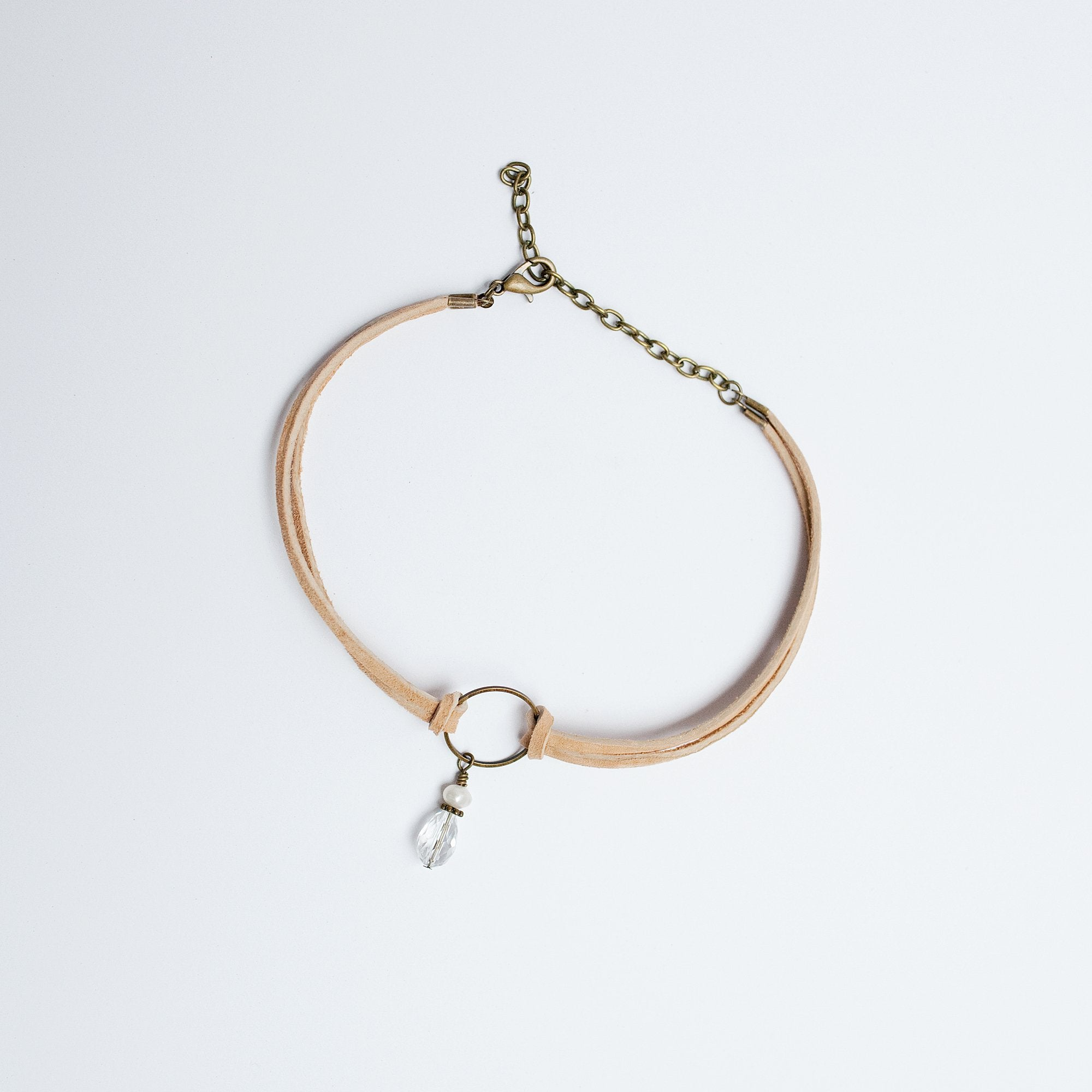 Double Knotted Suede Choker with Beaded Ring Pendant - Newport Edge