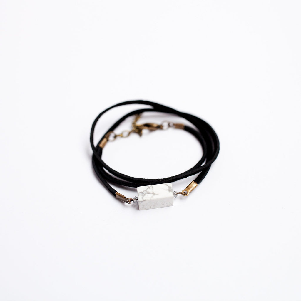 Black Suede Wrap 2-in-1 Bracelet/Necklace with Howlite Stone - Newport Edge