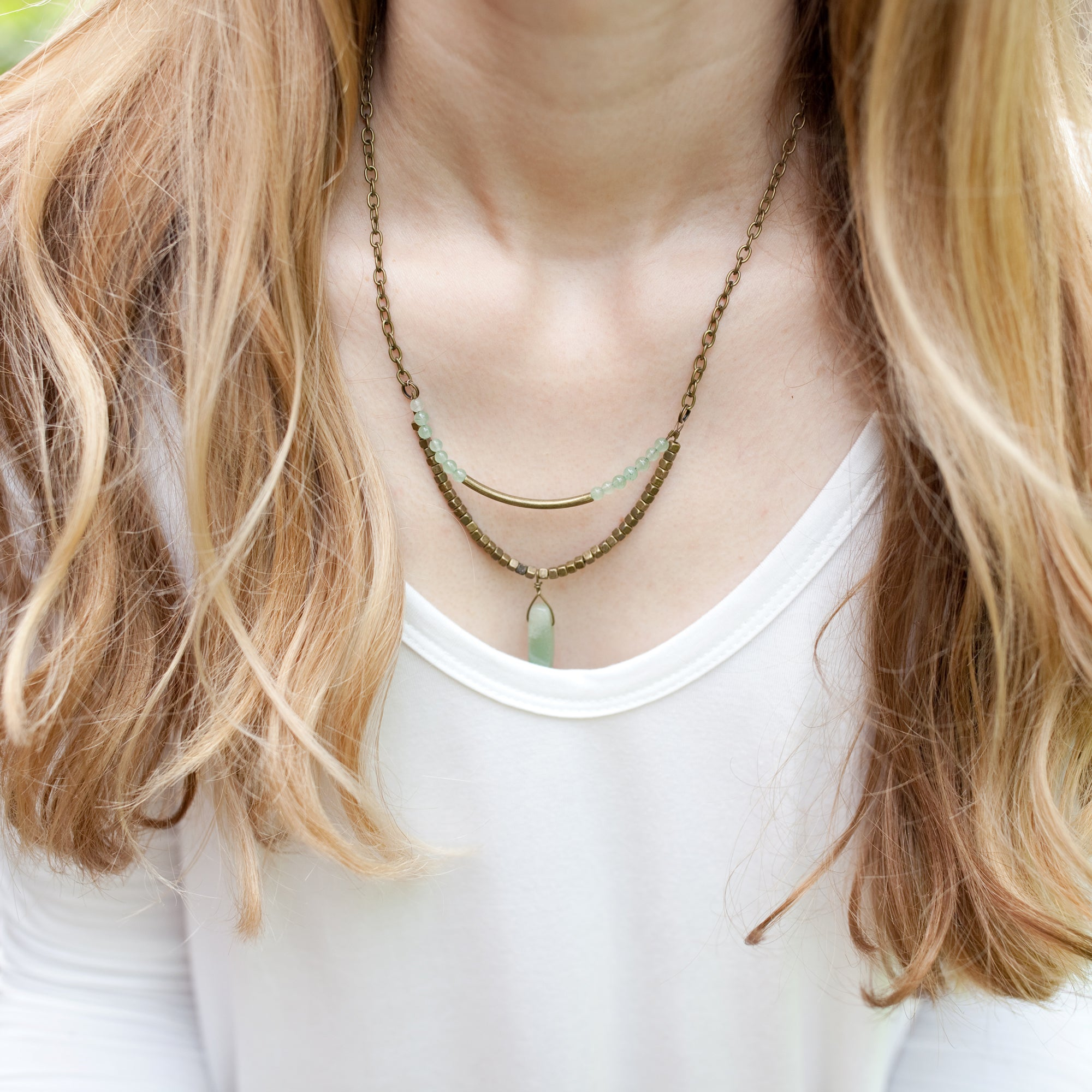 Mint and Antique Brass Layered Necklace - Newport Edge