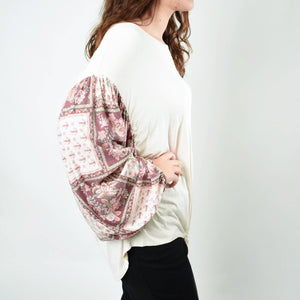 Floral Sleeve Waist Tie Top - Newport Edge