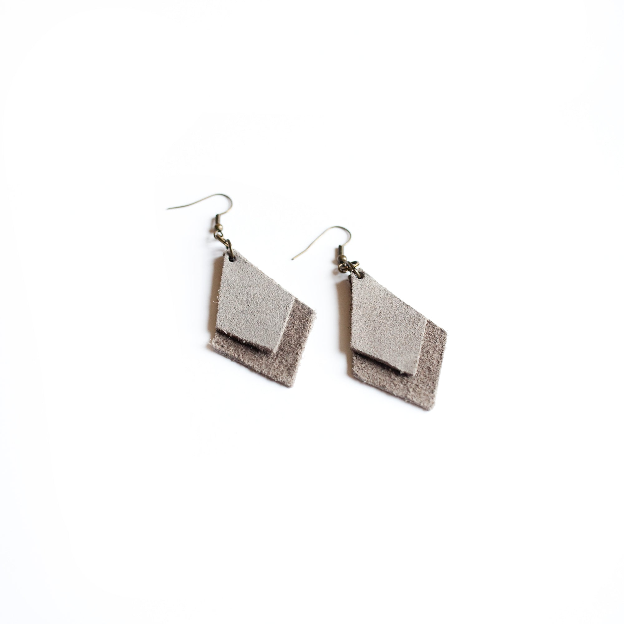 Layered Grey Suede Geo Earrings - Newport Edge