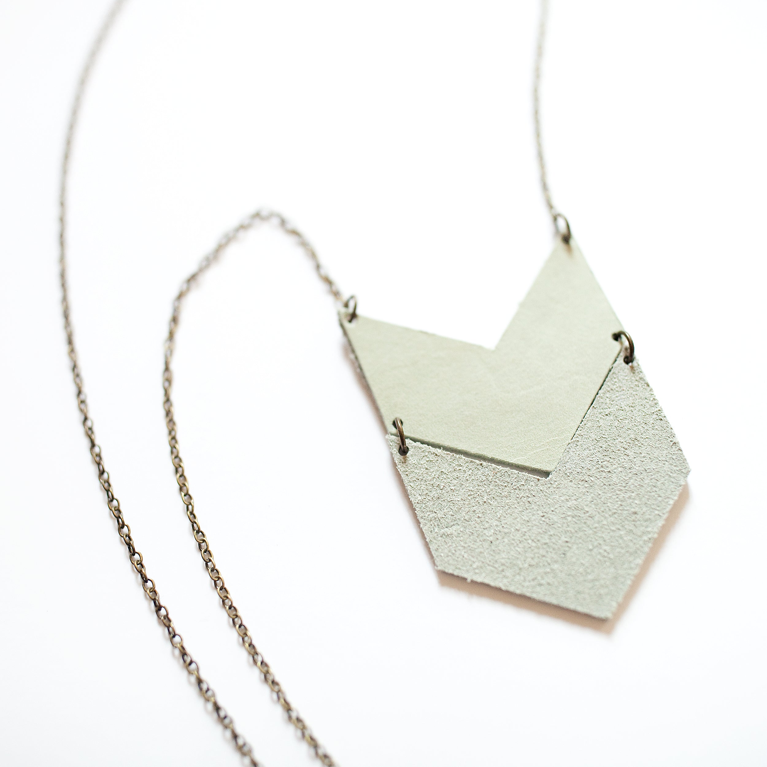 Reversible Mint Leather Chevron Necklace - Newport Edge