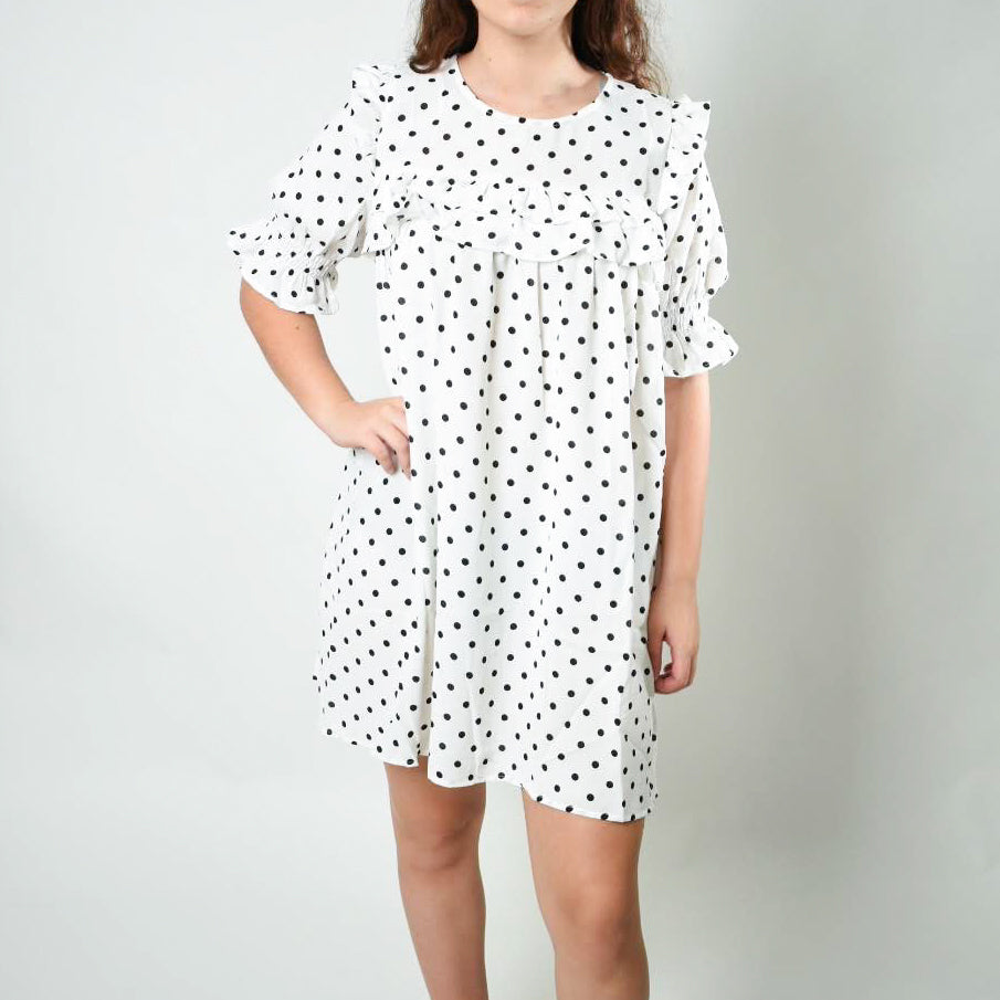 Polka Dot Ruffled Dress - Newport Edge