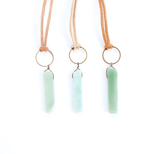 Long KnottedSuede Necklace with Light Blue Stone - Newport Edge