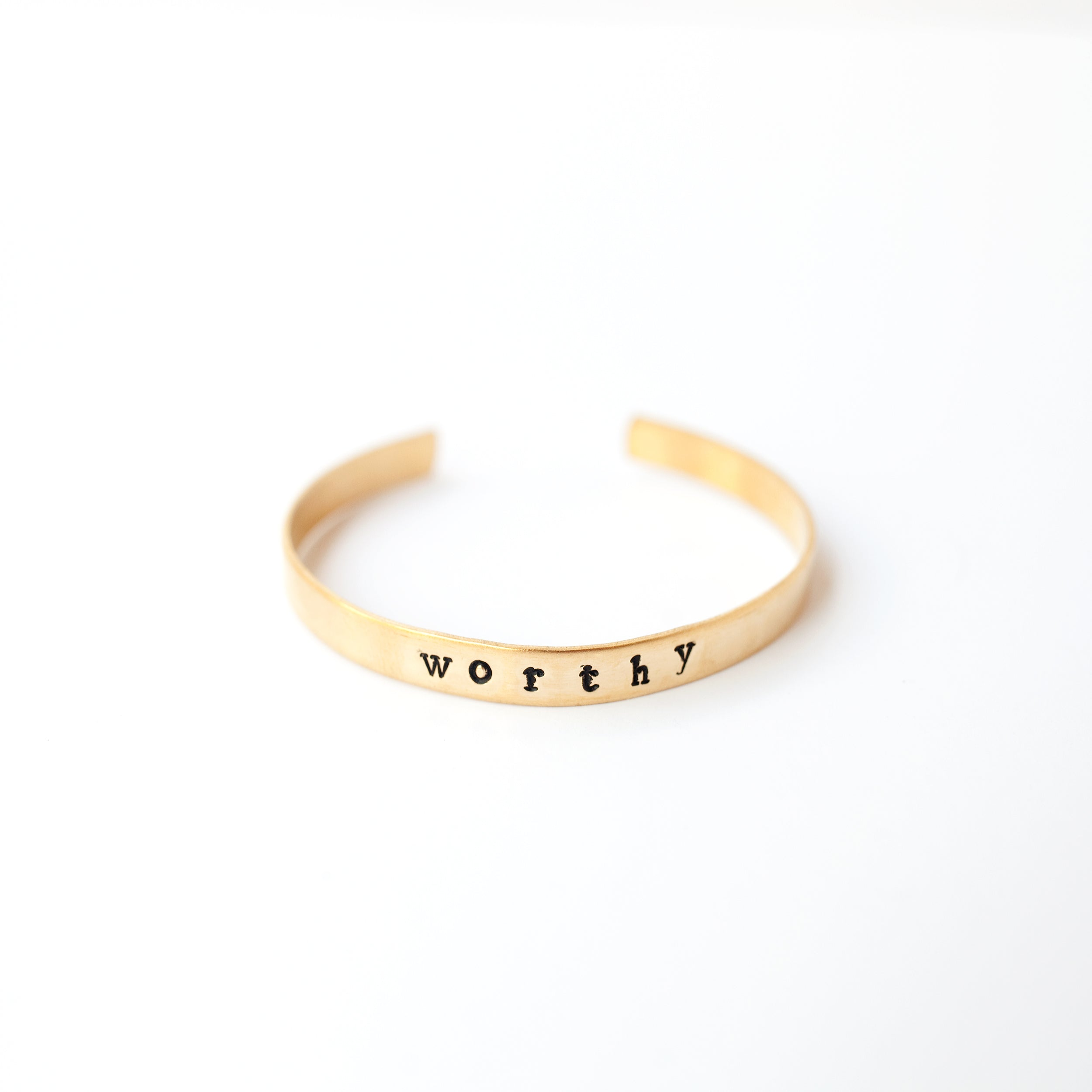 Stamped Brass Cuff - worthy - Newport Edge