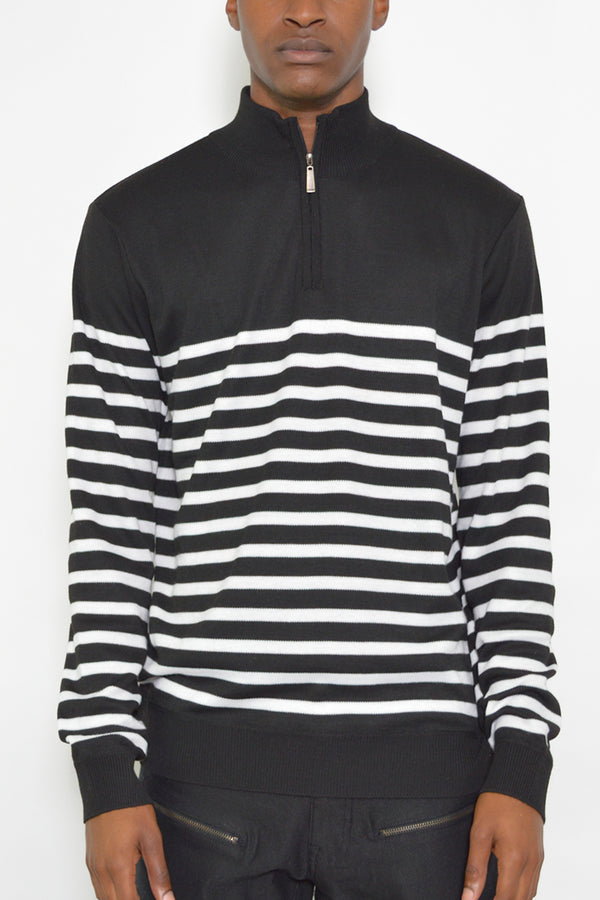 QUARTER ZIP STRIPE PULLOVER