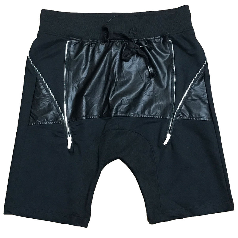 Leather Front Moto Shorts