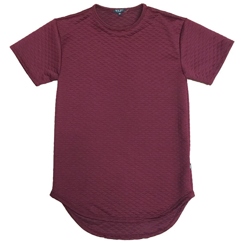 Burgundy Quilted Scallop Tee