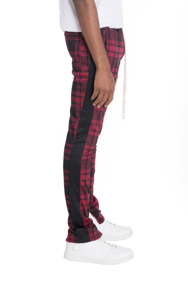 XTREME PLAID TRACK PANTS-WINE/BLACK