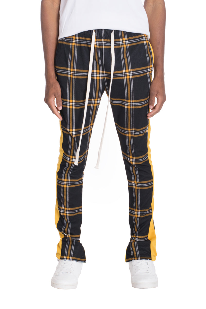 XTREME PLAID TRACK PANTS-BLACK/MUSTARD