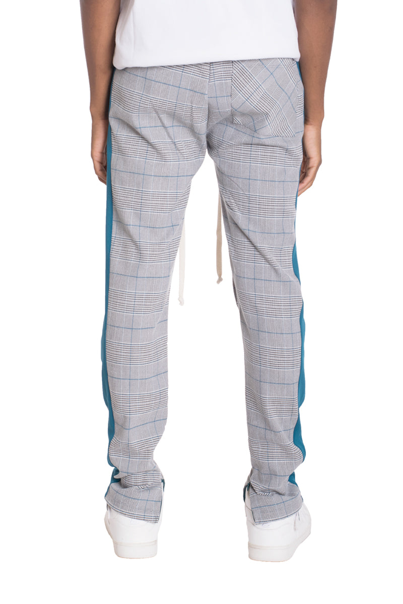 SLIGHT PLAID TRACK PANTS- TEAL