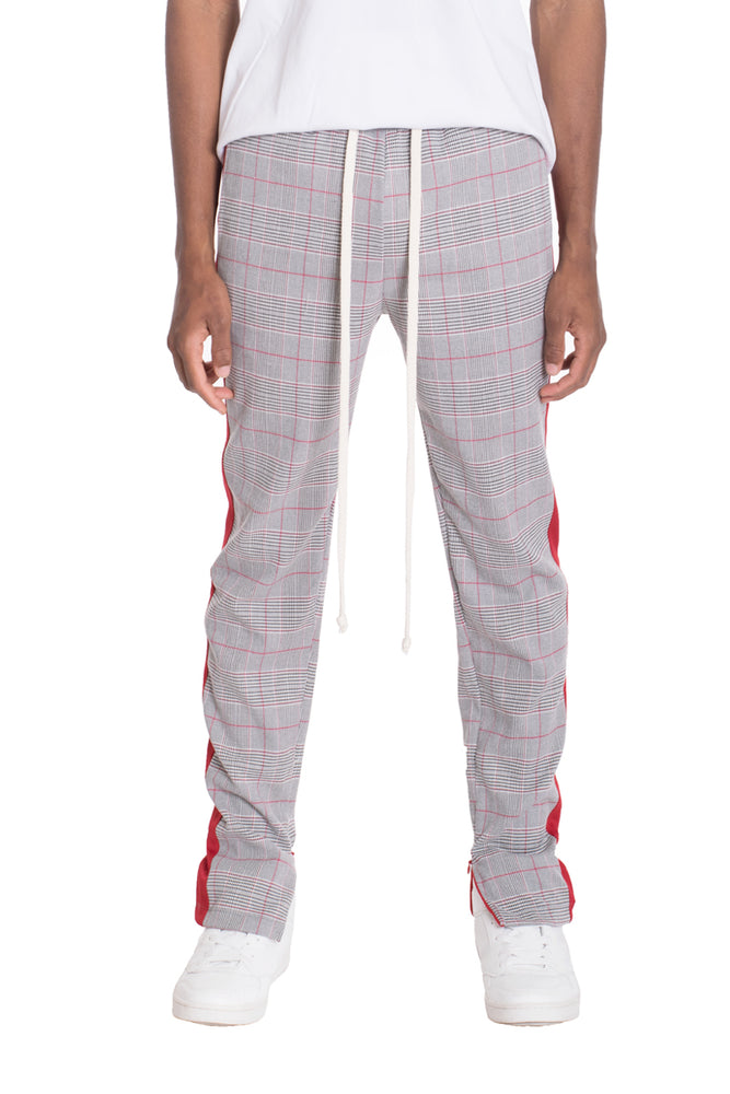 Load image into Gallery viewer, SLIGHT PLAID TRACK PANTS- RED