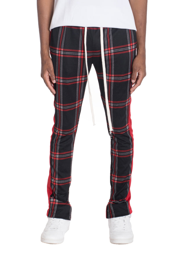XTREME PLAID TRACK PANTS-BLACK/RED