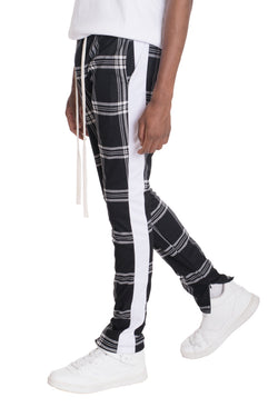 XTREME PLAID TRACK PANTS-BLACK/WHITE