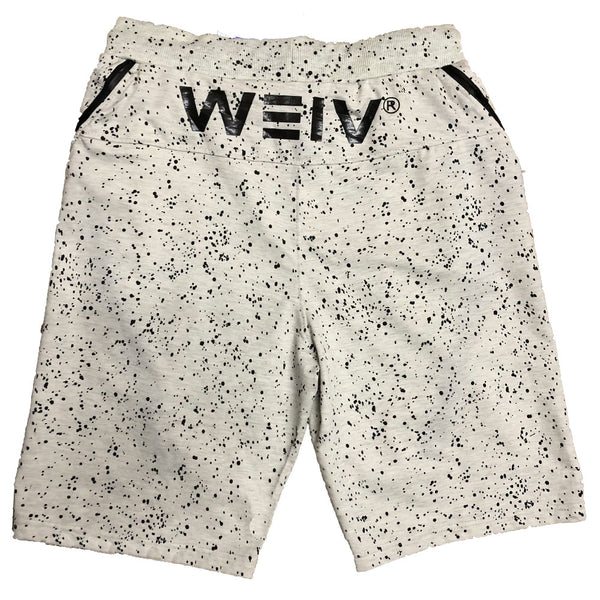 White Splatter Logo Shorts