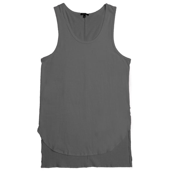 Gray Hi-Low Extended Tank Top