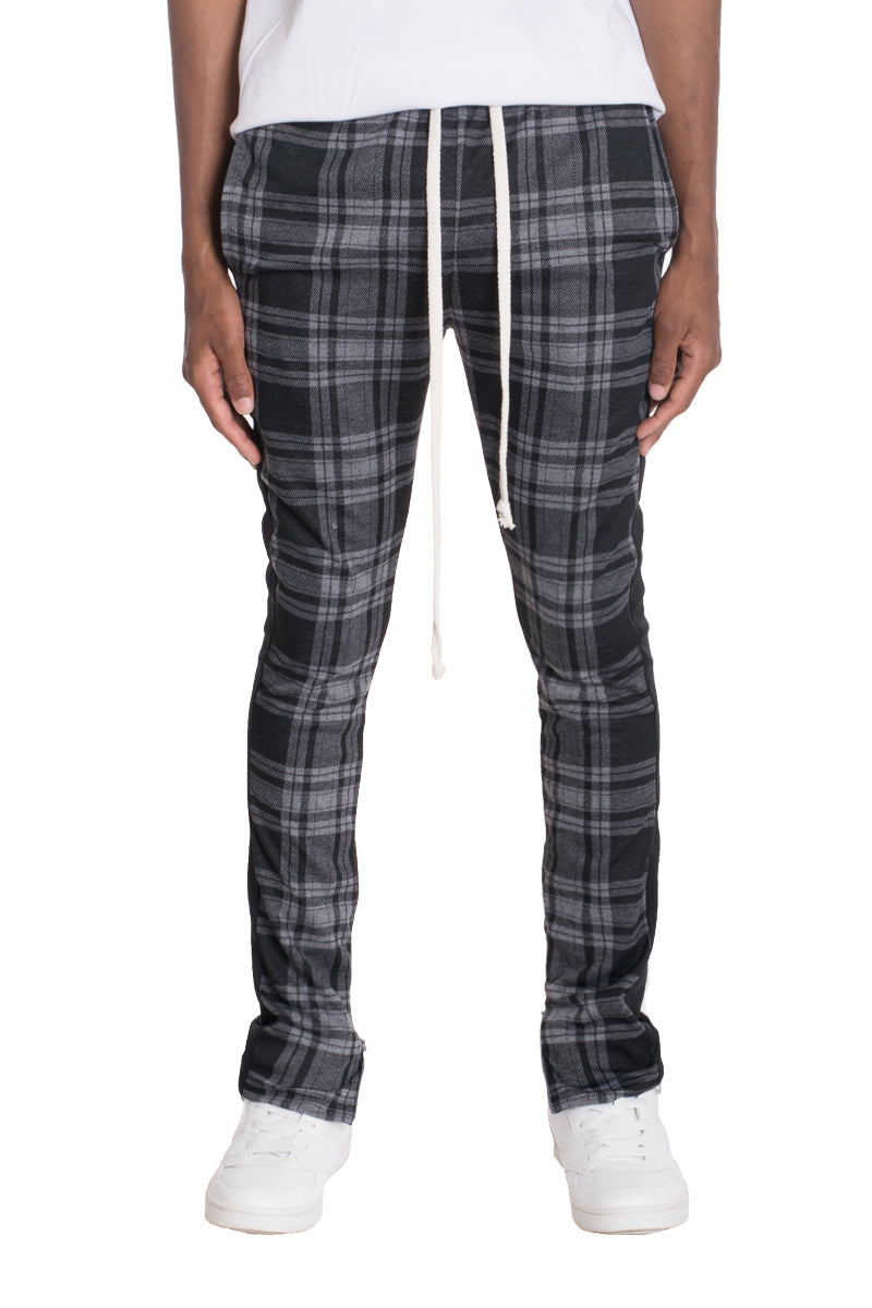 XTREME PLAID TRACK PANTS-GREY/BLACK