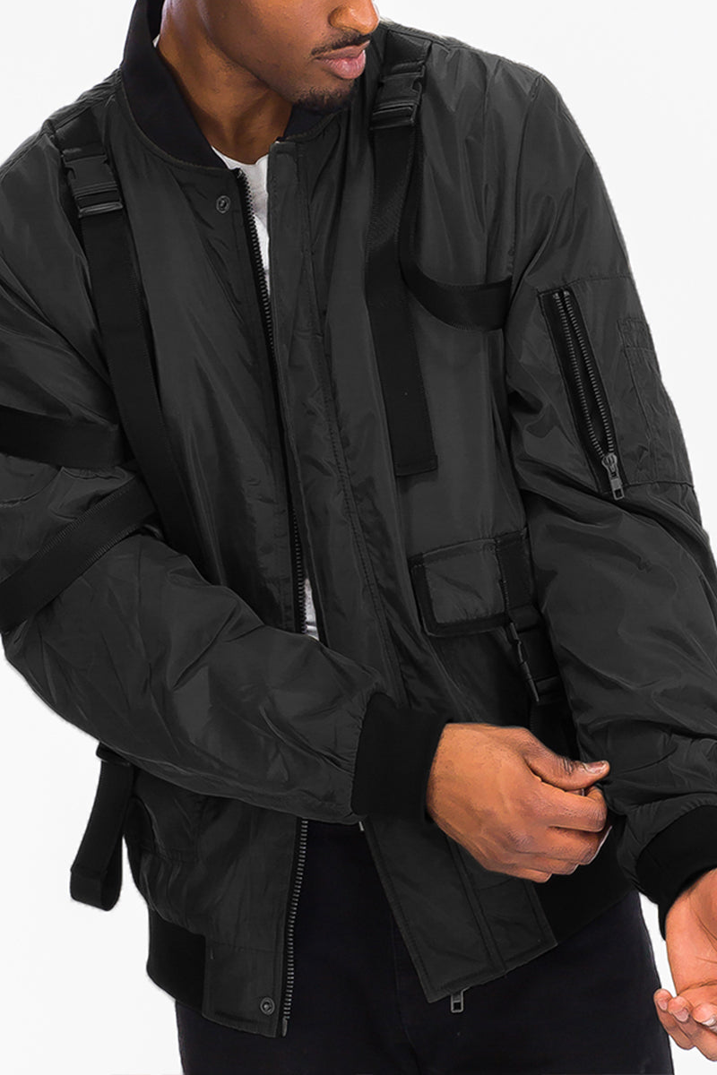 POLYTECH WEAR BOMBER JACKET- BLACK