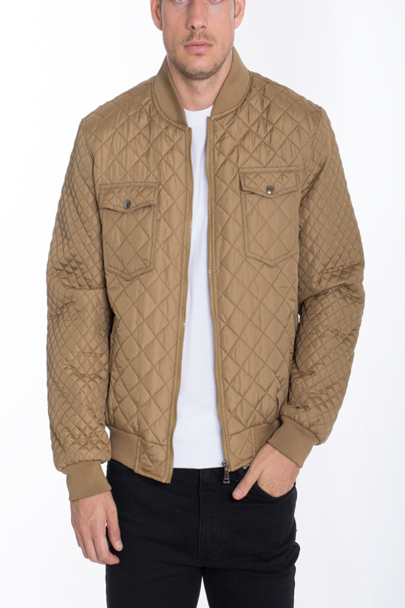 DIAMOND STITCH BOMBER-KHAKI