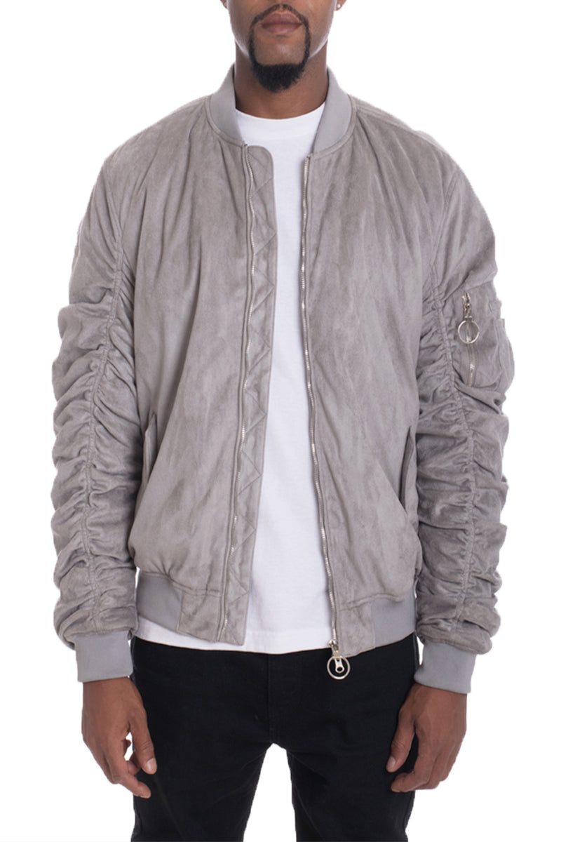FAUX SUEDE BOMBER- SMOKE