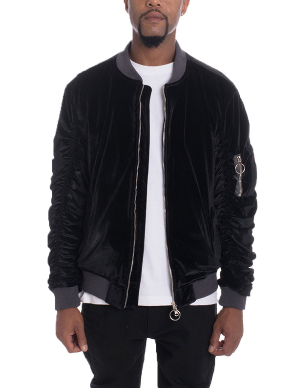 VELOUR BOMBER- BLACK