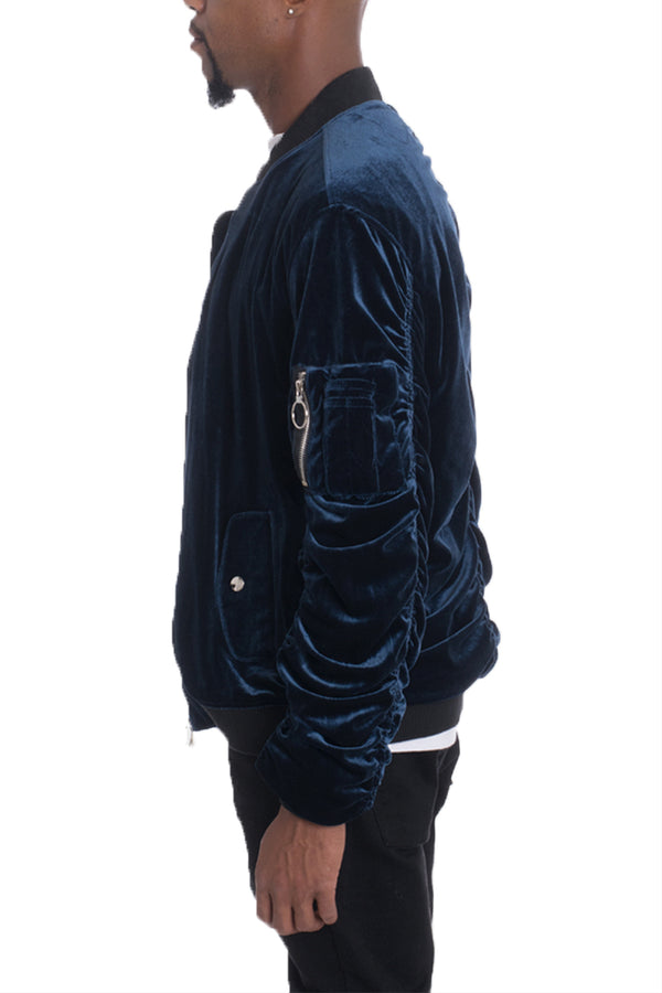 VELOUR BOMBER- NAVY
