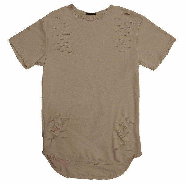 DISTRESSED SCALLOP TEE- OLIVE