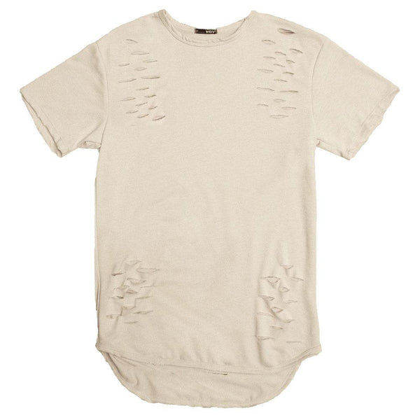 Taupe Distressed Scallop Tee