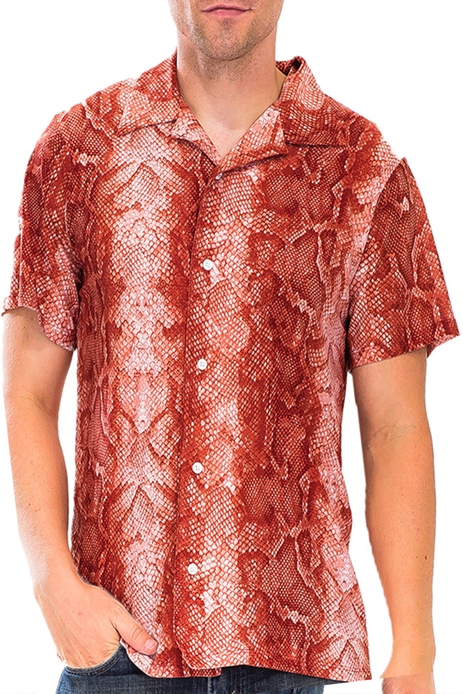 RED SNAKE PRINT BUTTON DOWN SHIRT