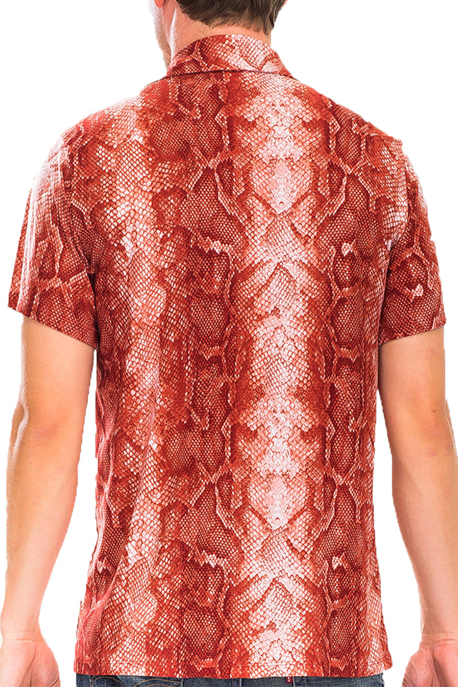 Load image into Gallery viewer, RED SNAKE PRINT BUTTON DOWN SHIRT