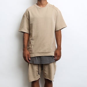 Load image into Gallery viewer, REVERSE FRENCH TERRY TEE- KHAKI