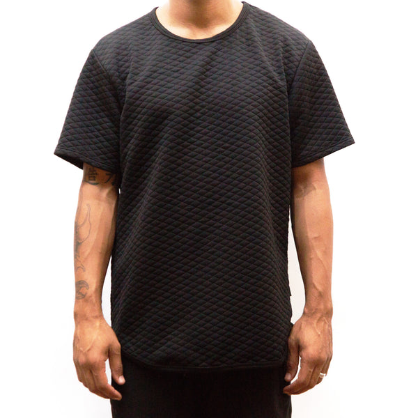 Black Quilted Scallop Tee