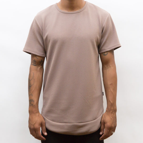 SEAMED SCALLOP TEE- SAND