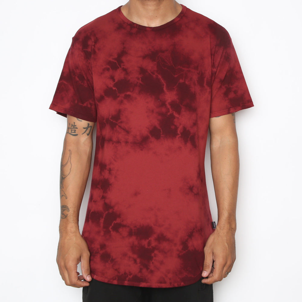 Load image into Gallery viewer, TYE DYE SCALLOP TEE- MAROON