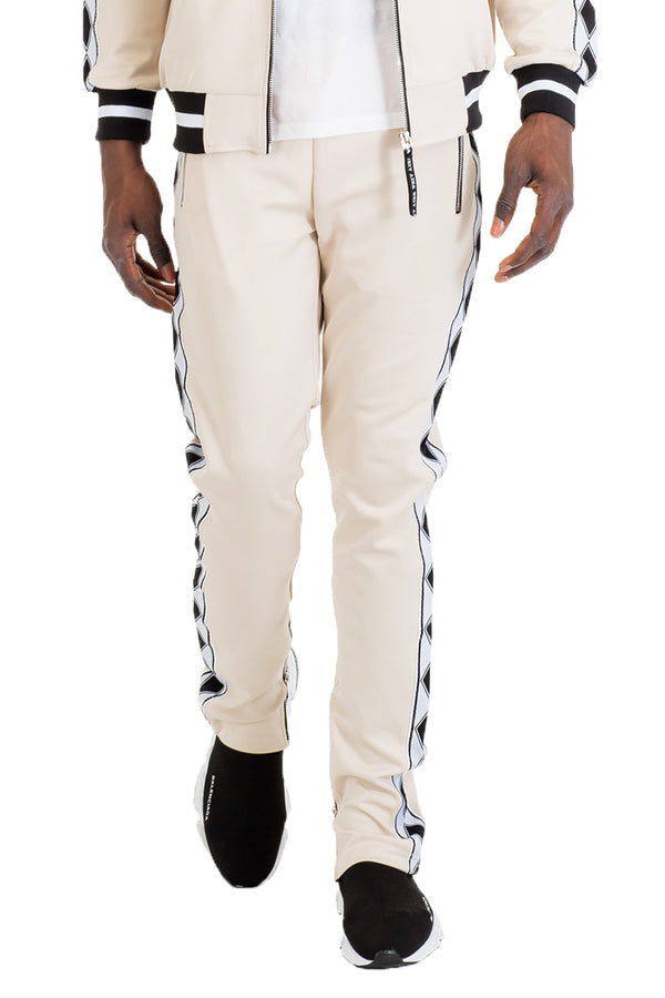 DIAMOND TAPE TRACK PANTS- BEIGE
